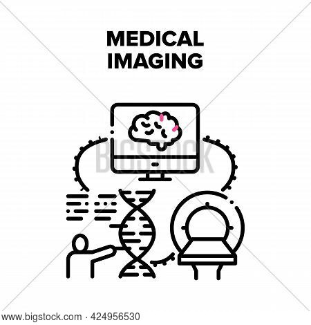 Medical Imaging Vector Icon Concept. Medical Imaging Mri Scanner For Checking Patient Health And Exa