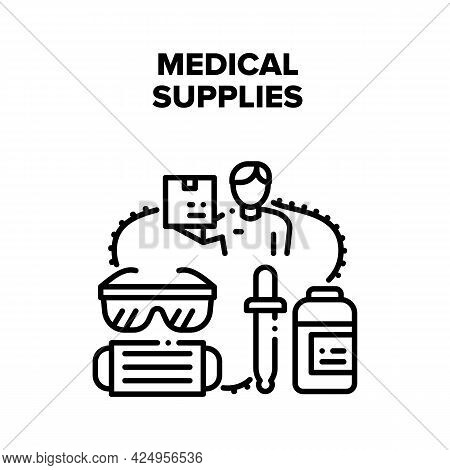 Medical Supplies Vector Icon Concept. Facial Mask And Glasses Medical Supplies For Patient Examinati