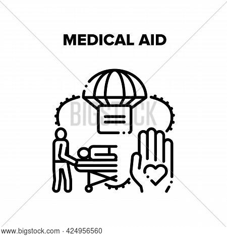 Medical Aid Vector Icon Concept. Emergency Medical Aid And Transportation To Hospital For Treatment