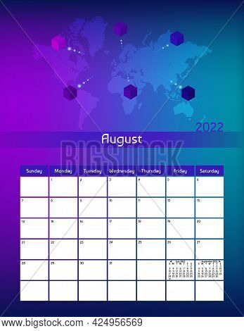 Us Letter Paper Size Vector Futuristic Monthly Planner Calendar August 2022 Week Starts On Sunday. V