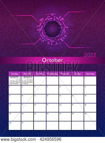 Us Letter Paper Size Vector Futuristic Monthly Planner Calendar October 2022 Week Starts On Sunday.