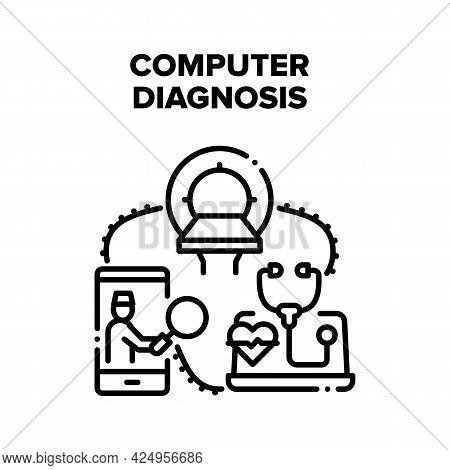 Computer Medical Diagnosis Vector Icon Concept. Computer Medical Diagnosis, Doctor Communicate With