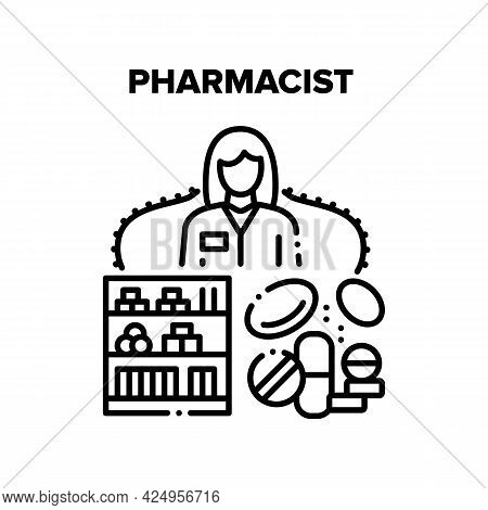 Pharmacist Work Vector Icon Concept. Pharmacist Work In Pharmacy Store, Woman Selling Medications Dr