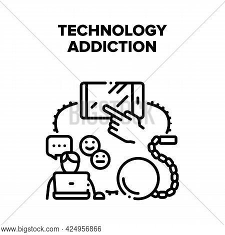 Technology Gadget Addiction Vector Icon Concept. Social Media Networking, Internet And Technology Ga