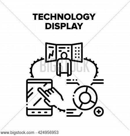 Technology Display Device Vector Icon Concept. Tablet With Touchscreen System And Computer Screen, T