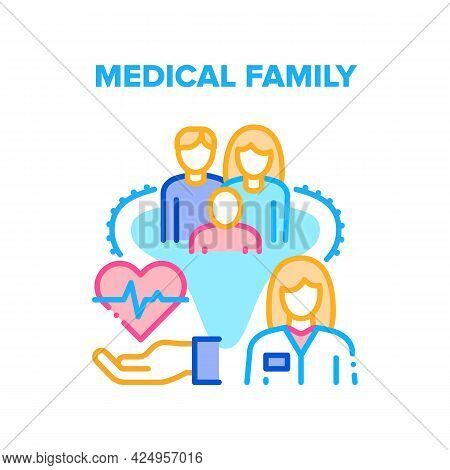 Medical Family Vector Icon Concept. Medical Family Examination And Treatment In Hospital. Doctor Che