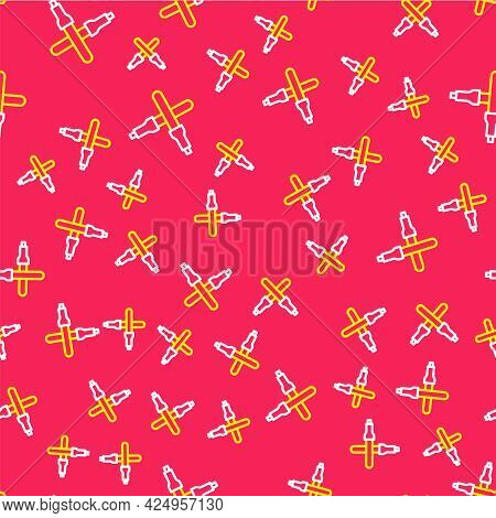 Line Marshalling Wands For The Aircraft Icon Isolated Seamless Pattern On Red Background. Marshaller