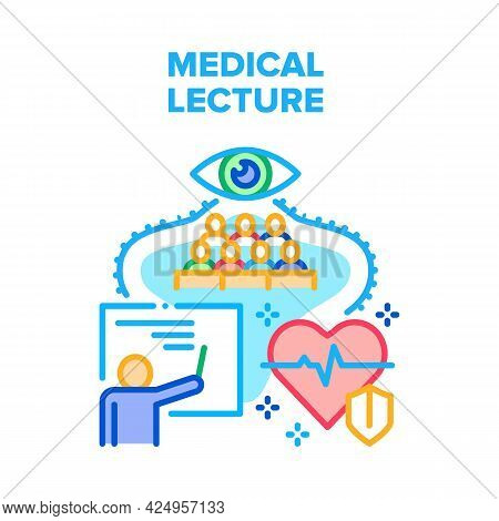 Medical Lecture Vector Icon Concept. Lecturer Professor Reading Educational Medical Lecture In Unive