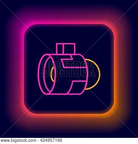Glowing Neon Line Jet Engine Turbine Icon Isolated On Black Background. Plane Turbine. Airplane Equi