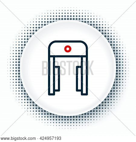 Line Metal Detector In Airport Icon Isolated On White Background. Airport Security Guard On Metal De