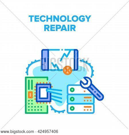 Technology Repair Service Vector Icon Concept. Damaged Crashed Smartphone Gadget Screen, Broken Serv