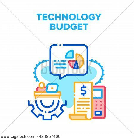 Technology Financial Budget Vector Icon Concept. Accountant Counting And Calculating Technology Fina