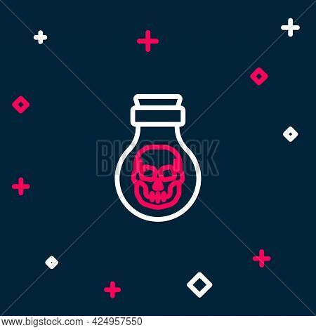 Line Poison In Bottle Icon Isolated On Blue Background. Bottle Of Poison Or Poisonous Chemical Toxin