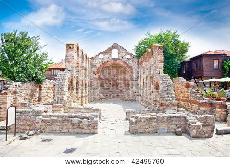 The ancient Church of St Sophia ruins in Nessebar, Bulgaria.