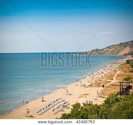 Panoramic view on west part of Golden Sands beach (Zlatni Piasci) in Bulgaria.
