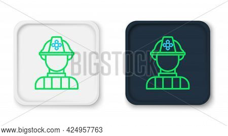 Line Firefighter Icon Isolated On White Background. Colorful Outline Concept. Vector