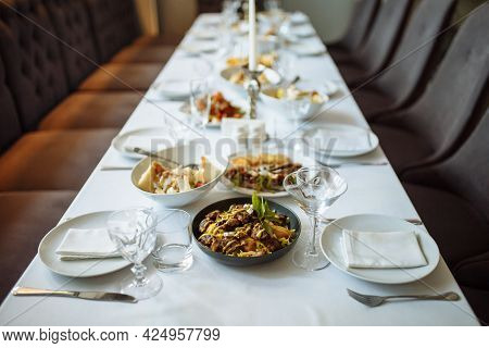 Served Table Setting With Tableware For A Party, Wedding Reception Or Other Event. Glassware And Cut