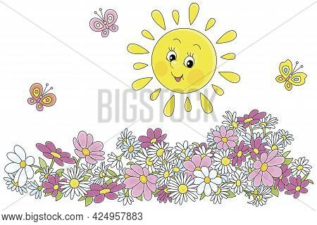 Happily Smiling Yellow Sun And Merry Butterflies Flittering Over Colorful Flowers In A Summer Garden