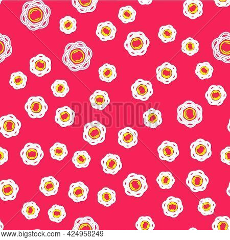 Line Atom Icon Isolated Seamless Pattern On Red Background. Symbol Of Science, Education, Nuclear Ph