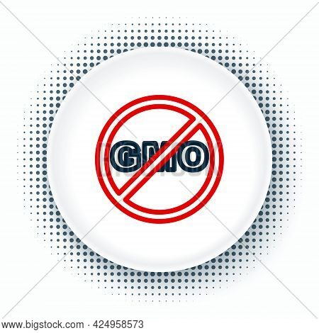 Line No Gmo Icon Isolated On White Background. Genetically Modified Organism Acronym. Dna Food Modif