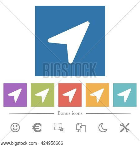 Direction Arrow Solid Flat White Icons In Square Backgrounds. 6 Bonus Icons Included.