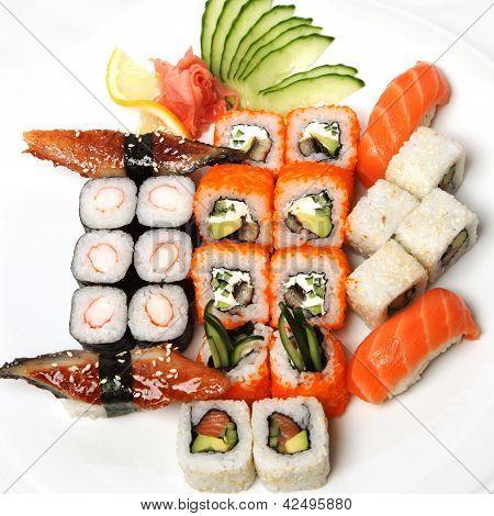 .  Sushi Set - Different Types Of Maki Sushi And Nigiri Sushi.
