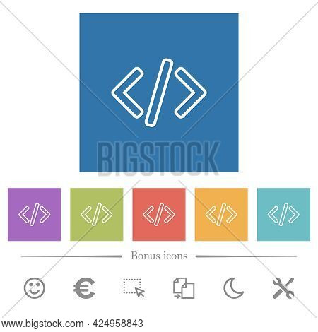 Script Code Flat White Icons In Square Backgrounds. 6 Bonus Icons Included.