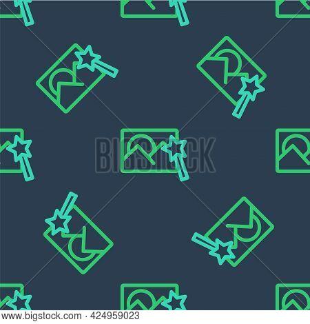 Line Photo Retouching Icon Isolated Seamless Pattern On Blue Background. Photographer, Photography,