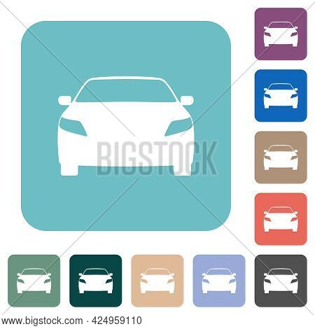 Sport Car Front View White Flat Icons On Color Rounded Square Backgrounds