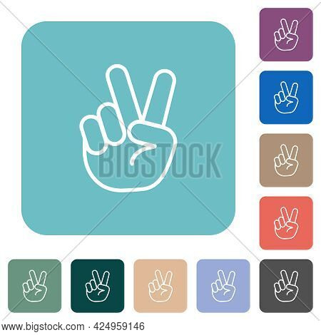 Victory Sign Hand Gesture White Flat Icons On Color Rounded Square Backgrounds