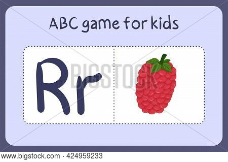 Kid Alphabet Mini Games In Cartoon Style With Letter R - Raspberry. Vector Illustration For Game Des