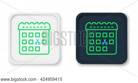 Line Calendar With Haircut Day Icon Isolated On White Background. Haircut Appointment Concept. Color