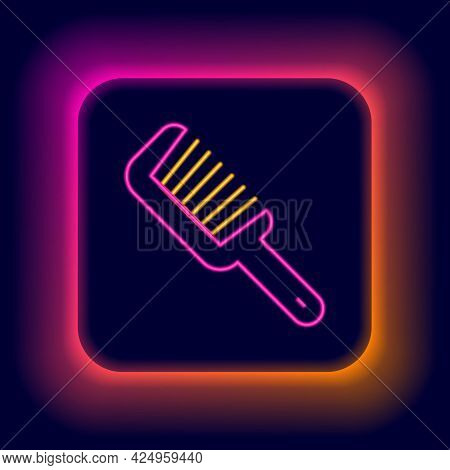 Glowing Neon Line Hairbrush Icon Isolated On Black Background. Comb Hair Sign. Barber Symbol. Colorf