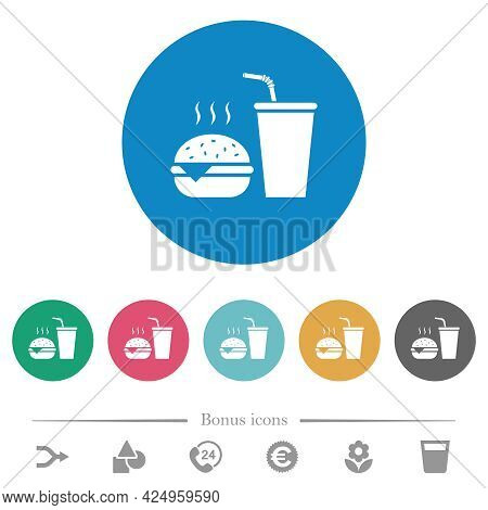 Fast Food Menu With Cheeseburger And Drink Flat White Icons On Round Color Backgrounds. 6 Bonus Icon