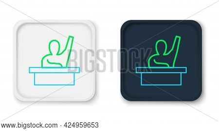 Line Active Male Kid Raising Hand Answering To Teacher Question Icon Isolated On White Background. A