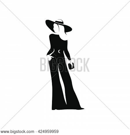 Beautiful Young Lady Portrait Isolated. Awesome Model In Stylish Hat And Trousers Black Hand Drawn S
