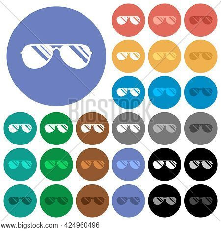 Aviator Sunglasses With Glosses Multi Colored Flat Icons On Round Backgrounds. Included White, Light