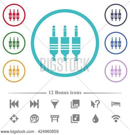 Analog Jack Connectors Flat Color Icons In Circle Shape Outlines. 12 Bonus Icons Included.