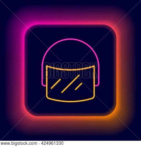 Glowing Neon Line Police Helmet Icon Isolated On Black Background. Military Helmet. Colorful Outline