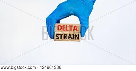 Covid-19 New Delta Strain Symbol. Hand In Blue Glove Holds Wooden Blocks Words \'delta Strain\'. Bea