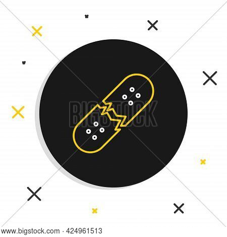 Line Broken Skateboard Deck Icon Isolated On White Background. Extreme Sport. Sport Equipment. Color