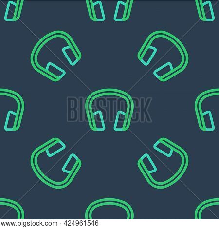 Line Headphones Icon Isolated Seamless Pattern On Blue Background. Earphones. Concept For Listening
