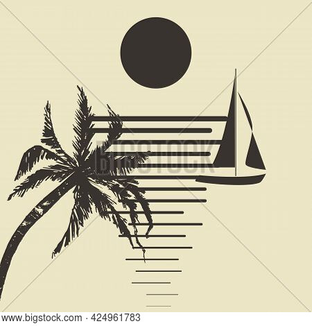 Moonlit Night, Rest. Minimalistic Vector Illustration In The Form Of An Abstract Composition Of Silh