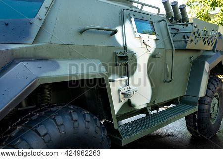 Military Armored Suv Of Green Color.military Concept