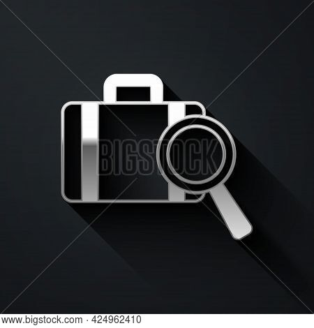 Silver Airline Service Of Finding Lost Baggage Icon Isolated On Black Background. Search Luggage. Lo