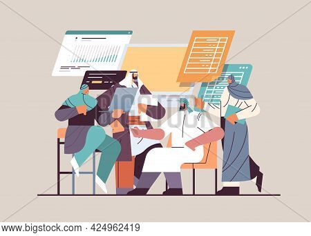 Arabic Businesspeople Analyzing Financial Data On Charts And Graphs Planning Report Market Analysis