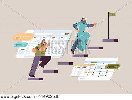 Businesspeople Climbing Up Stairs Career Ladder Leadership Concept Horizontal Full Length Vector Ill