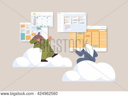 Arab Businesspeople Team Planning Day Scheduling Appointment In Calendar App Agenda Meeting Plan