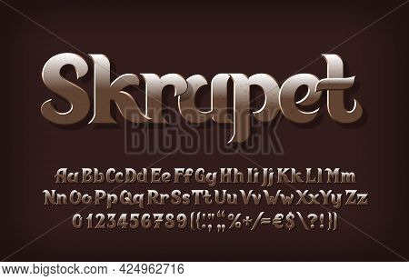 Skrapet Alphabet Font. Beveled Scratched Letters, Numbers And Punctuations. Uppercase And Lowercase.