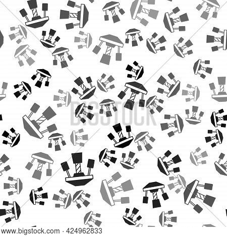 Black Attraction Carousel Icon Isolated Seamless Pattern On White Background. Amusement Park. Childr